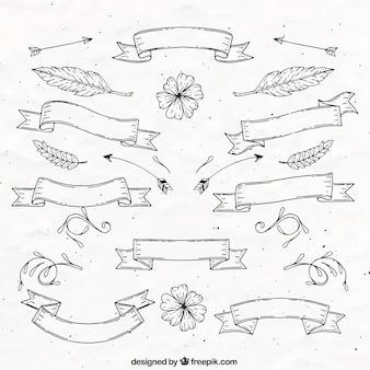 Hand gezeichnet vintage-bänder mit blättern und blüten