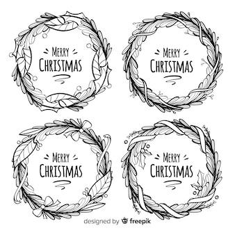 Hand gezeichnet vom blumenkranz für weihnachten