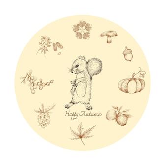 Hand gezeichnet vom eichhörnchen mit autumn plants