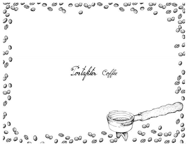 Hand gezeichnet vom filterhalter für kaffeemaschine