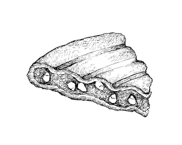 Hand gezeichnet vom gegrillten rajma-mais-sandwich