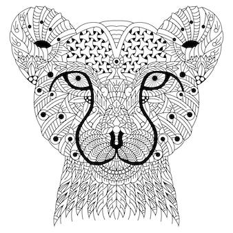 Hand gezeichnet vom gepardenkopf im zentangle-stil