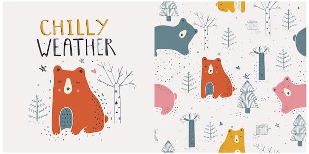 Hand gezeichnet vom netten weißen bären mit nahtlosem muster des winterwaldes hand gezeichnet
