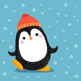 Hand gezeichnet vom niedlichen pinguin, der roten hut trägt