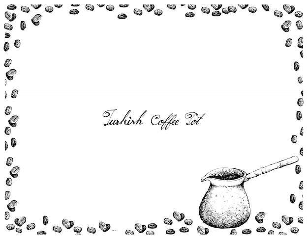 Hand gezeichnet vom traditionellen türkischen kaffeetopf