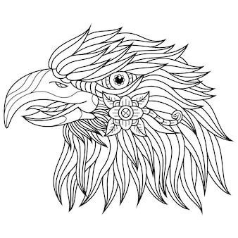 Hand gezeichnet von adlerkopf im zentangle-stil