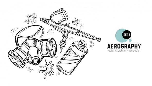 Hand gezeichnet von den aerographiewerkzeugen.