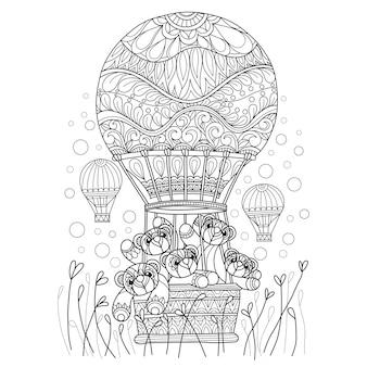 Hand gezeichnet von den teddybären im ballon