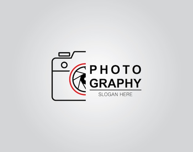 Hand gezeichnet von der designschablone des kamerafotografielogo-symbols
