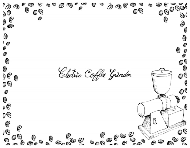 Hand gezeichnet von der elektrischen kaffeemühle mit kaffeebohnen