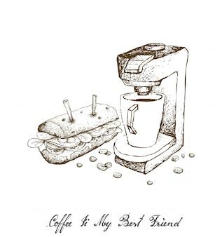 Hand gezeichnet von der espresso-kaffeemaschine mit baguette-sandwich