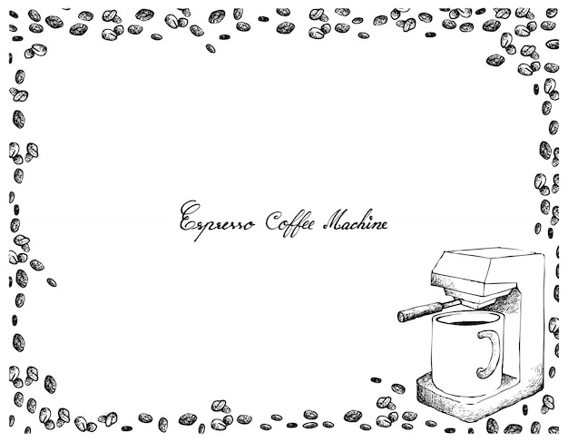 Hand gezeichnet von der espresso-kaffeemaschine mit kaffeebohnen