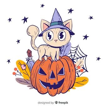 Hand gezeichnet von der halloween-katze auf einem kürbis