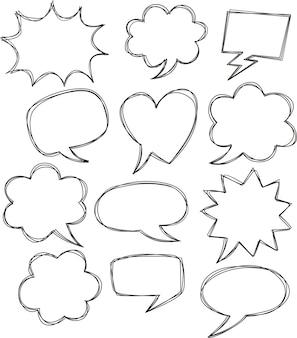 Hand gezeichnet von der komischen rede sprudelt auf weißem hintergrund