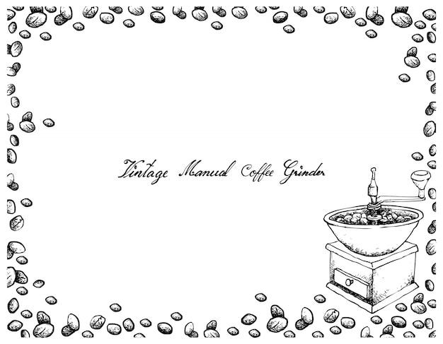 Hand gezeichnet von der manuellen kaffeemühle der weinlese