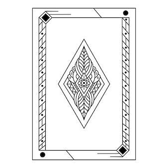 Hand gezeichnet von der pokerkarte im zentangle-stil