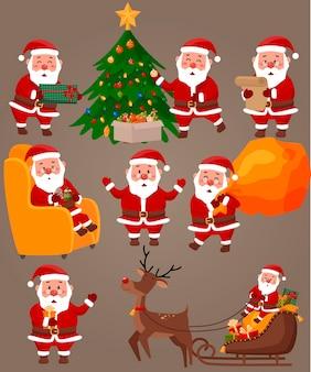 Hand gezeichnet von der weihnachtsmannsammlungsillustration