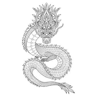 Hand gezeichnet von drachen im zentangle-stil