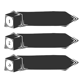 Hand gezeichnet von drei säuleninfografiken, lokalisiert auf weißem hintergrund.