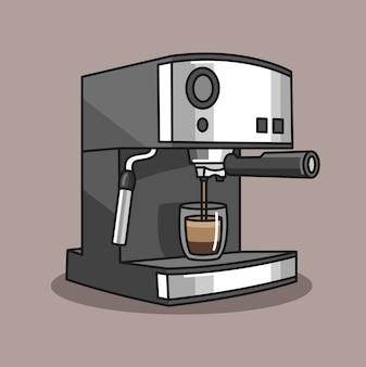 Hand gezeichnet von einer kaffeemaschine