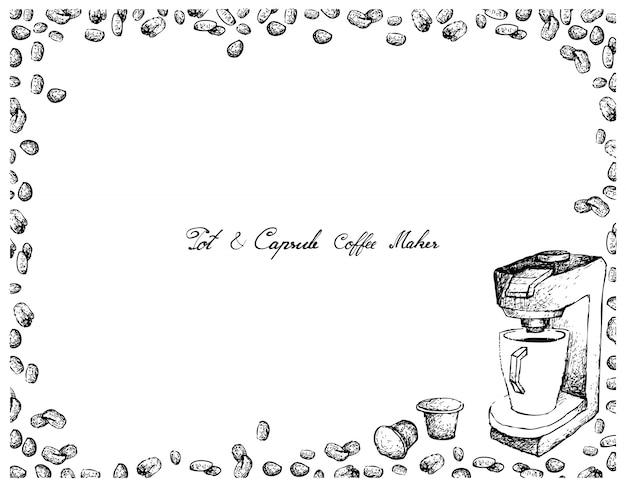 Hand gezeichnet von espresso-kaffeemaschine mit kapsel