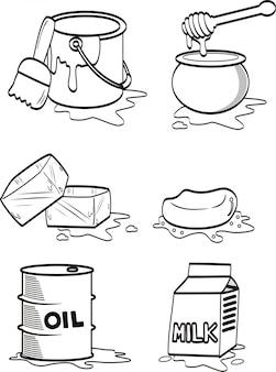 Hand gezeichnet von flüssigkeit verschüttet und aus mehreren objekten geschmolzen