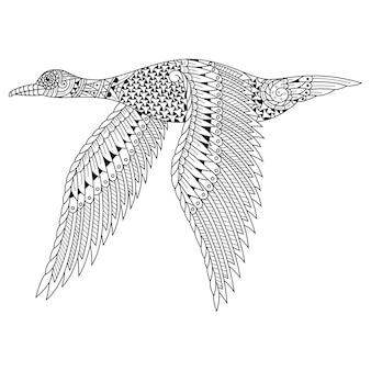 Hand gezeichnet von gans im zentangle-stil Premium Vektoren