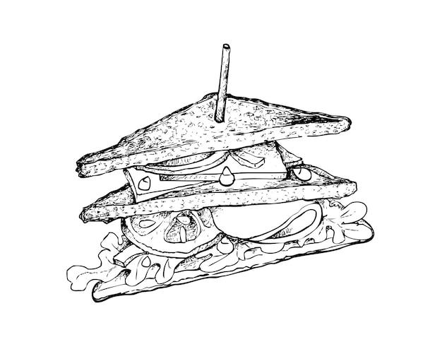 Hand gezeichnet von gegrilltem club sandwich oder clubhouse sandwich