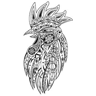 Hand gezeichnet von hahn im zentangle-stil