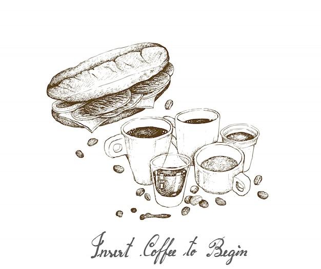 Hand gezeichnet von heißem kaffee mit baguette-sandwich