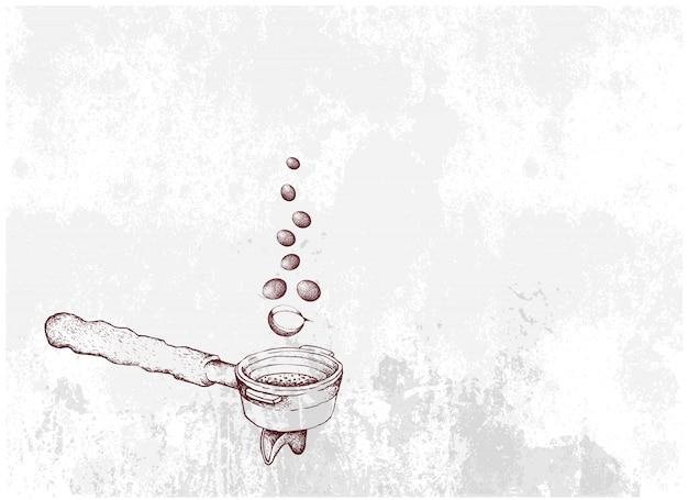 Hand gezeichnet von heißem kaffee mit siebträger