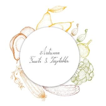 Hand gezeichnet von Herbstgemüse und -kräutern