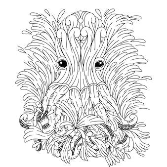 Hand gezeichnet von krake im zentangle-stil