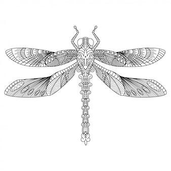Hand gezeichnet von libelle im zentangle-stil