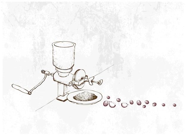 Hand gezeichnet von manueller kaffeemühle mit bohnen