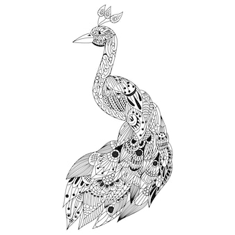 Hand gezeichnet von pfau im zentangle-stil