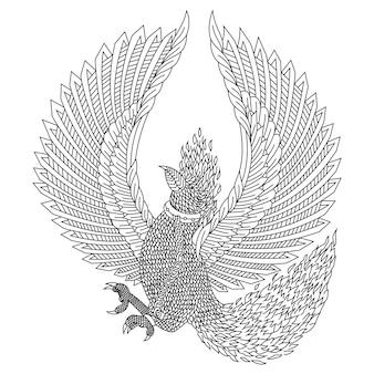 Hand gezeichnet von phönix im zentangle-stil