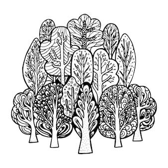 Hand gezeichnet von vektorbaum im gekritzelstil