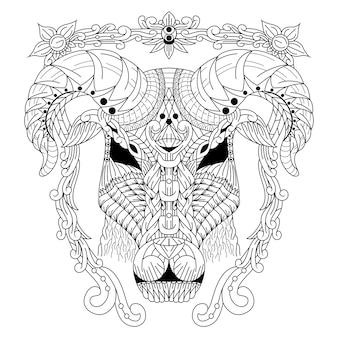 Hand gezeichnet von ziegenkopf im zentangle-stil