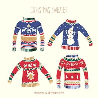 Hand gezeichnet weihnachten pullover einpacken
