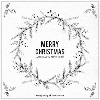 Hand gezeichnet weihnachten zweige hintergrund