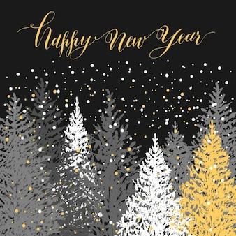 Hand gezeichnet weihnachtskarte des neuen jahres bäume mit snowvector design illustration kalli guten rutsch ins neue jahr auf grauem hintergrund