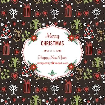 Hand gezeichnet weihnachtsmotiven hintergrund