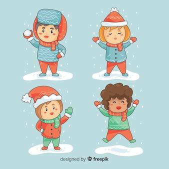Hand gezeichnet, winterkinder spielend