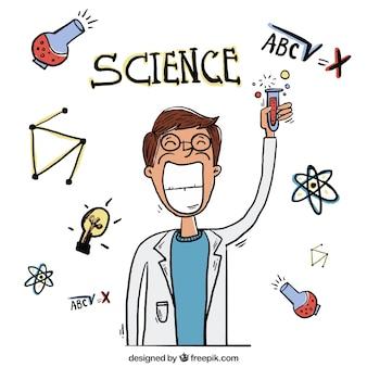 Hand gezeichnet wissenschaftler mit einem reagenzglas