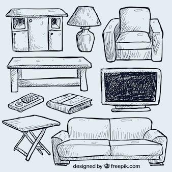 Hand gezeichnet wohnzimmer möbel