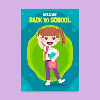 Hand gezeichnet zurück zur vertikalen plakatschablone der schule