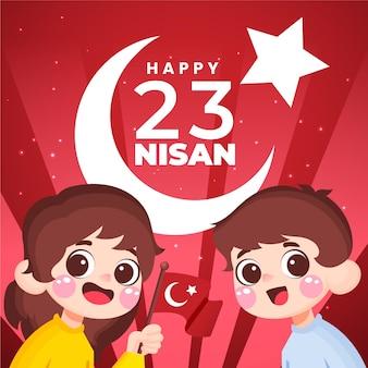 Hand gezeichnete 23 nisan illustration