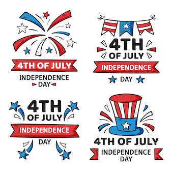 Hand gezeichnete 4. juli - unabhängigkeitstag abzeichen sammlung