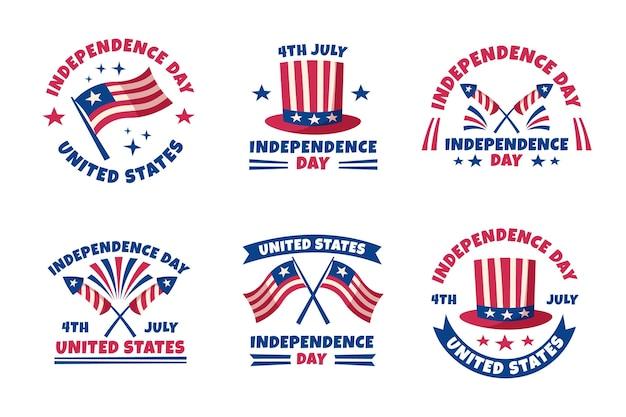 Hand gezeichnete 4. juli - unabhängigkeitstag etiketten